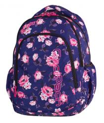 Plecak szkolny młodzieżowy COOLPACK PRIME granatowy w pastelowe róże, ROSE GARDEN 1058 (79488)