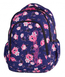 Plecak CoolPack PRIME granatowy w pastelowe róże, ROSE GARDEN + gratis (79488)