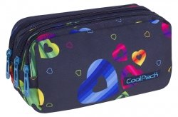 Piórnik trzykomorowy saszetka COOLPACK PRIMUS kolorowe serca, RAINBOW HEARTS (80856CP)