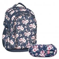 ZESTAW 2 el. Plecak szkolny młodzieżowy ST.RIGHT w róże, ROSES BP1 (22601SET2CZ)