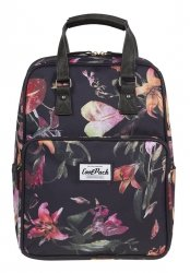 Plecak CoolPack CUBIC 2w1 torebka pastelowe lilie na czarnym tle, LILIES (12393CP)