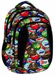Plecak szkolny ST.RIGHT młodzieżowy Bottle Caps czarny w kapsle BP4 (17461)
