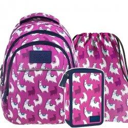 ZESTAW 3 el. Plecak szkolny młodzieżowy BackUP LAMA LAMY (PLB2H03SET3CZ)