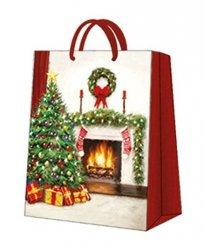Torebka świąteczna CHRISTMAS INTERIOR rozmiar M, Paw (AGB029305)