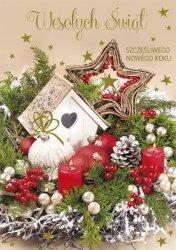 Kartka świąteczna BOŻE NARODZENIE 12 x 17 cm + koperta (43849)