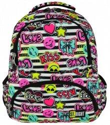 Plecak szkolny młodzieżowy ST.RIGHT w kolorowe wzory, KISS&LOVE BP7 (17065)