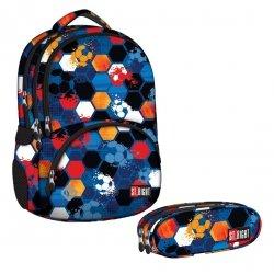 ZESTAW 2 el. Plecak szkolny młodzieżowy ST.RIGHT granatowy w piłki, FOOTBALL BP7 (16839SET2CZ)