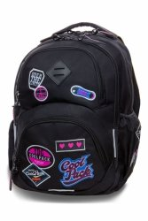 Plecak CoolPack DART L czarny w znaczki, GIRLS BADGES BLACK (B19056)