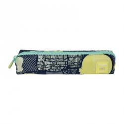 Piórnik kwadratowy SILVER Milan granatowy w żółte wzory  (081129SL5B)