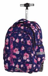 Plecak szkolny młodzieżowy na kółkach COOLPACK JUNIOR granatowy w pastelowe róże, ROSE GARDEN 1071 (80217)