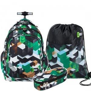 ZESTAW 3 el. Plecak szkolny młodzieżowy na kółkach ST.RIGHT w zielone klocki 3D, GREEN 3D BLOCKS TB1 (26258)