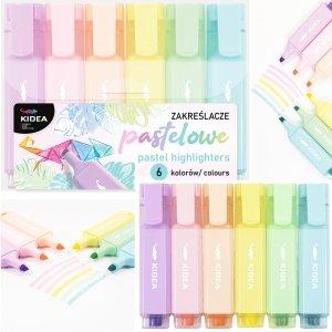 Zakreślacze pastelowe 6 kolorów KIDEA (ZP6KA)