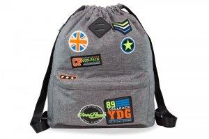 Plecak Sportowy Worek na sznurkach CoolPack URBAN szary w znaczki, BADGES GREY (B73052)