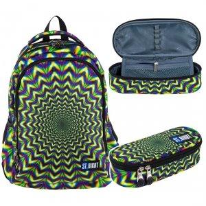 ZESTAW 2 el. Plecak szkolny młodzieżowy ST.RIGHT hipnoza, HIPNOSIS BP57 (26432SET2CZ)