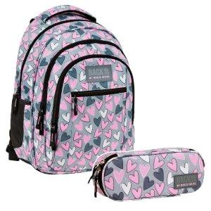 ZESTAW 2 el. Plecak szkolny młodzieżowy BackUP 26 L SERCA (PLB3O04SET2CZ)