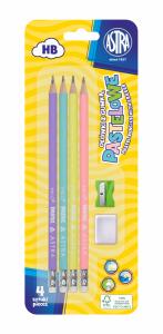 Ołówek pastelowy z gumką i miarką 4 szt ASTRA + temperówka (206120007)