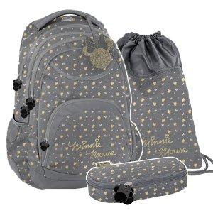 ZESTAW 3 el. Plecak szkolny młodzieżowy Myszka Minnie, MINNIE GOLD Paso (DISZ-2708/16SET3CZ)