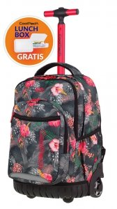 Plecak CoolPack SWIFT na kółkach kwiaty na grafitowym tle, CORAL HIBISCUS + gratis (85622CP)