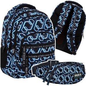 ZESTAW 2 el. Plecak szkolny młodzieżowy BackUP 28 L + NERKA ONLINE (PLB4M53SET2CZ)