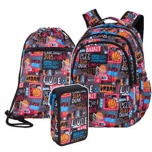 ZESTAW 3 el. Plecak wczesnoszkolny CoolPack JOY S 21L koszykówka, BASKETBALL (C48231SET3CZ)