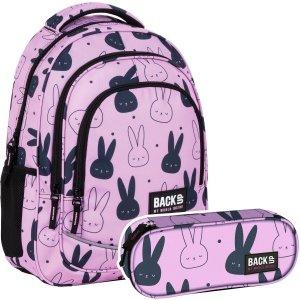 ZESTAW 2 el. Plecak szkolny młodzieżowy BackUP 26 L króliczki, BUNNY (PLB4X35SET2CZ)