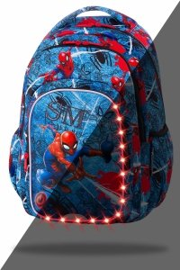 Plecak CoolPack SPARK LED Spiderman na niebieskim tle, SPIDERMAN DENIM (B45304)
