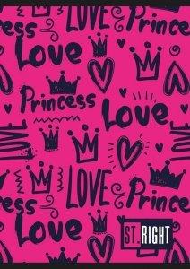 Zeszyt A5 w kratkę St.Right 32 kartki korony, LOVE (29693)