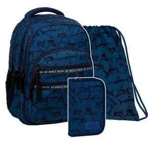 ZESTAW 3 el. Plecak szkolny młodzieżowy BackUP 28 L REKINY (PLB3M50SET3CZ)