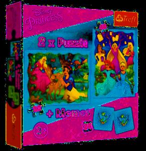 TREFL Puzzle 2w1 + memo PRINCESS Księżniczki, Niezwykły świat księżniczek (90815)