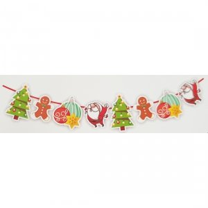Girlanda papierowa świąteczna PIERNIK CHOINKA MIKOŁAJ  BOMBKI (998-2)