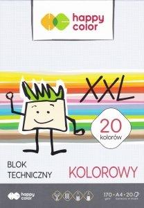 Blok techniczny XXL A4 kolorowe kartki 20 kolorów HAPPY COLOR (07009)