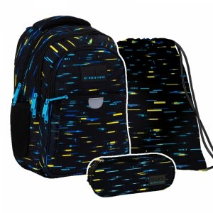 ZESTAW 3 el. Plecak wczesnoszkolny BackUP 24 L kolorowe paski, CYBER (PLB4P45SET3CZ)