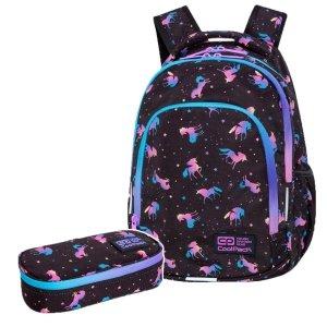 ZESTAW 2 el. Plecak wczesnoszkolny CoolPack PRIME 23 L jednorożce, DARK UNICORN (C25234SET2CZ)