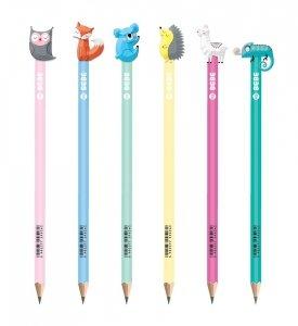 6x Ołówek ze zwierzakiem HB INTERDRUK B&B Pastel (95262SET6CZ)