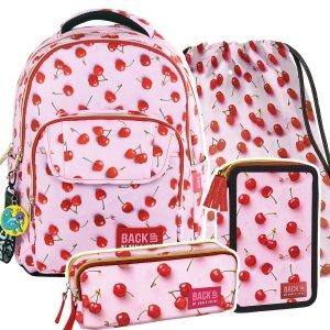 ZESTAW 4 el. Plecak szkolny młodzieżowy BackUP WIŚNIE (PLB2L31SET4CZ)