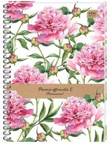 Kołozeszyt B5 100 kartek w kratkę PEONIA kwiaty peonie (14843)