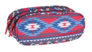 Piórnik CoolPack CLEVER dwukomorowy saszetka w kolorowe wzory, BOHO BEIGE 804 (74896)