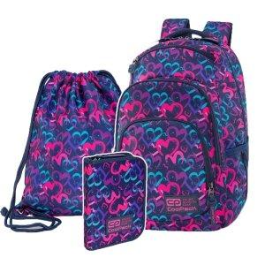 ZESTAW 3 el. Plecak CoolPack VANCE 20 L serca, DRAWING HEARTS (C37141SET3CZ)