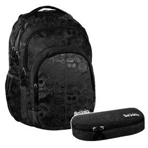 ZESTAW 2 el. Plecak szkolny młodzieżowy czarny, ICON Paso (PPIC20-2706SET2CZ)