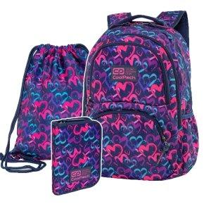 ZESTAW 3 el. Plecak CoolPack DART 27 L serca, DRAWING HEARTS (C19141SET3CZ)