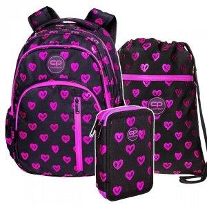 ZESTAW 3 el. Plecak CoolPack BASE 27 L serca, ELECTRA HEARTS (D027334SET3CZ)