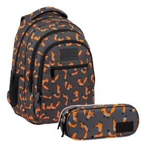 ZESTAW 2 el. Plecak szkolny młodzieżowy BackUP 26 L lisy, FOX (PLB3O39SET2CZ)