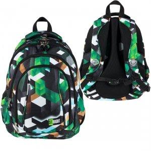 Plecak szkolny ST.RIGHT młodzieżowy w zielone klocki 3D, GREEN 3D BLOCKS BP4 (26265)