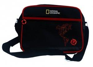 Torba szkolna na ramię, na format A4 młodzieżowa czarna z czerwonymi dodatkami, COMPASS RED SB2 (71878)