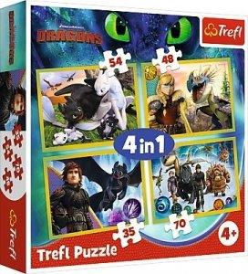 TREFL Puzzle 4 w 1 JAK WYTRESOWAĆ SMOKA (34341)