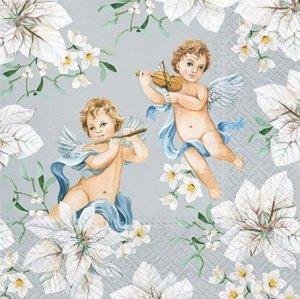 Serwetki dekoracyjne Angels In Flowers Silver ANIOŁKI 33x33 cm (SDL015108)