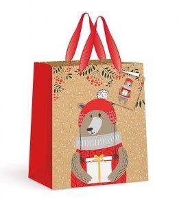 4x Torebka świąteczna na prezent CHOINKI PASKI MIŚ MIKOŁAJ Interdruk (92292)