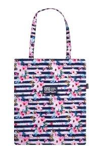 Torba na ramię CoolPack SHOPPER BAG w pastelowe kwiaty, PINK MARINE (C79263)