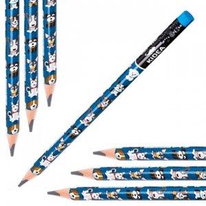 Ołówek szkolny trójkątny gruby z gumką HB JUMBO PIESEK PIESKI Kidea (OTGNKA)