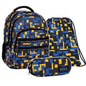 ZESTAW 3 el. Plecak szkolny młodzieżowy BackUP 28 L klocki, BRICKS (PLB3M52SET3CZ)